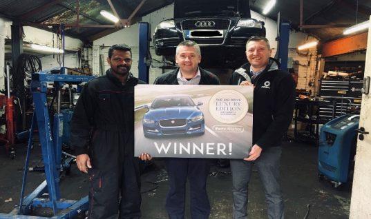 Garage customer of The Parts Alliance wins brand new Jaguar XE