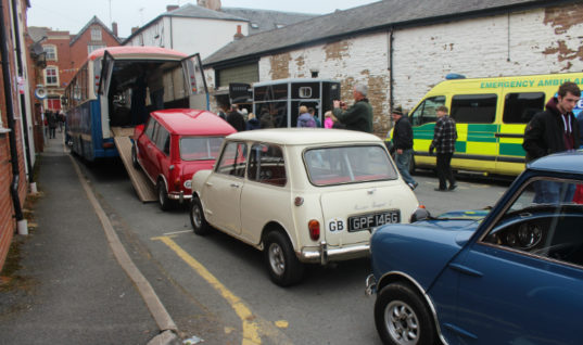 Automotive festival featuring Italian Job recreation sponsored by brake brand