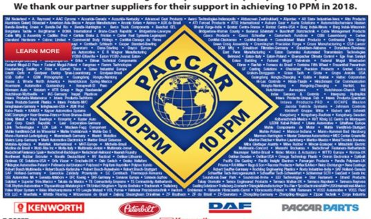 Dayco awarded PACCAR 2018 Quality Achievement certification
