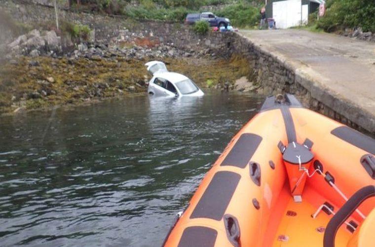 Handbrake failure sees car plunge into sea