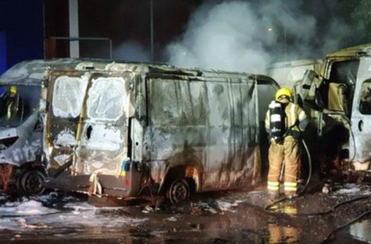 Ten vehicles destroyed in workshop blaze
