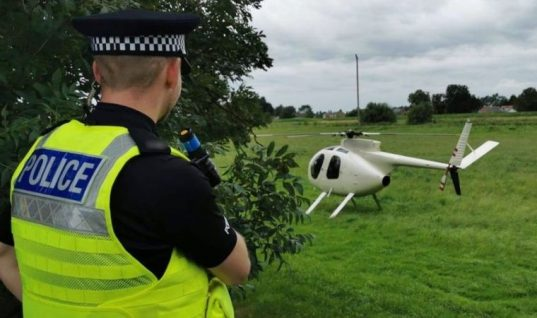 Motorist has replacement wheel delivered by helicopter after suffering blow-out