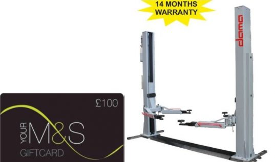 £100 M&S voucher with Dama two-post lift from Hickleys