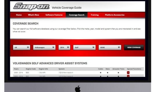 Snap-on adds vehicle coverage guide to website