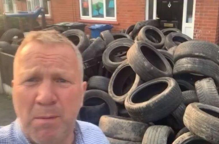 Watch: Farmer returns 421 waste tyres to fly-tipper's doorstep