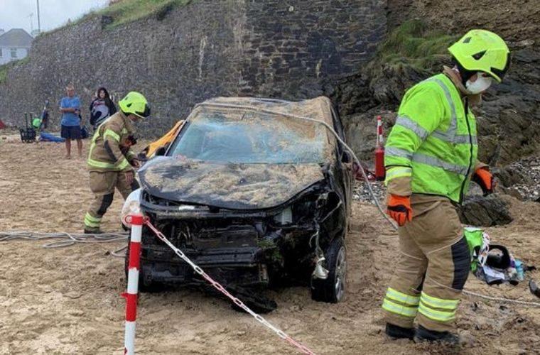 Car plunges onto Cornish beach