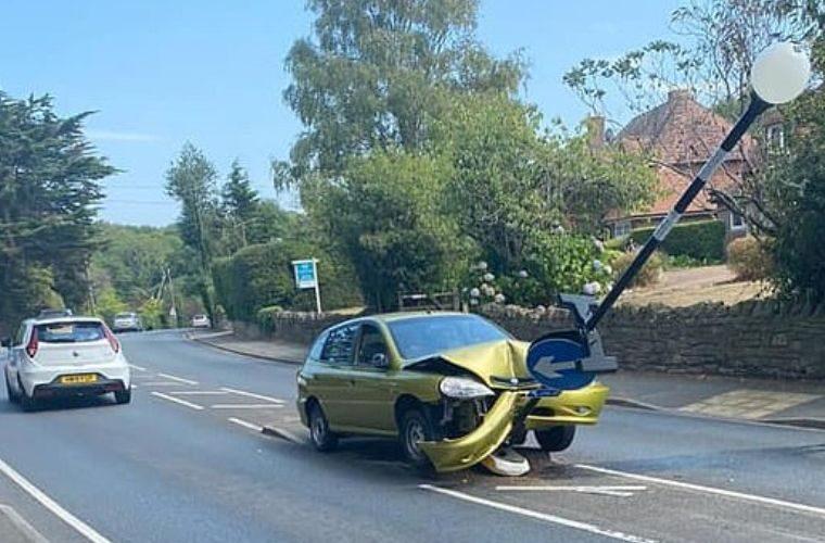 Driver crashes into signpost after spotting spider inside car