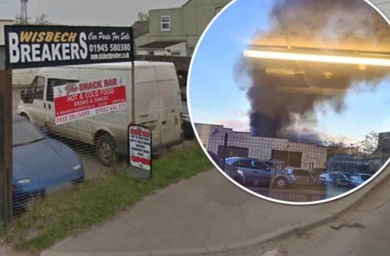 Vehicles go up in flames in salvage yard blaze