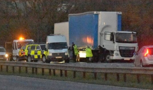Lorry crashes into police car dealing with breakdown