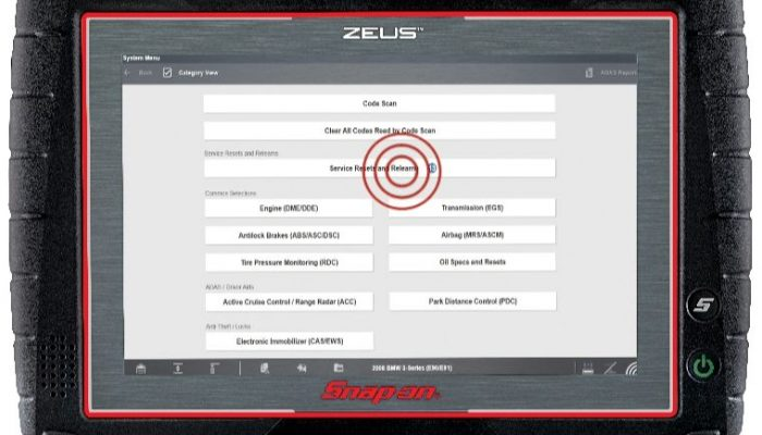 Service resets and relearns in latest Snap-on software release