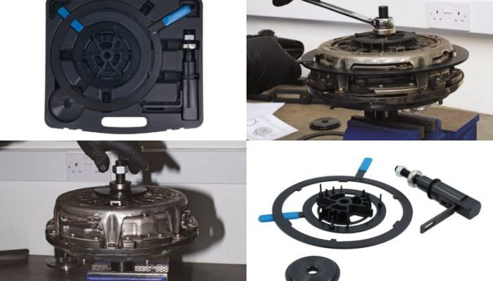 Ford twin-plate dry clutch removal, refitting and setting-up tooling